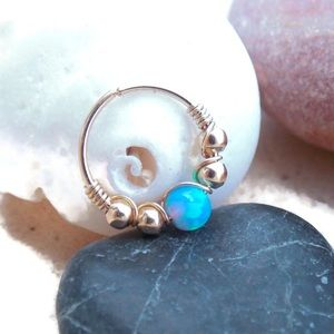 Moodtherapy Jewelry - Blue fire opal beaded cartilage hoop earring
